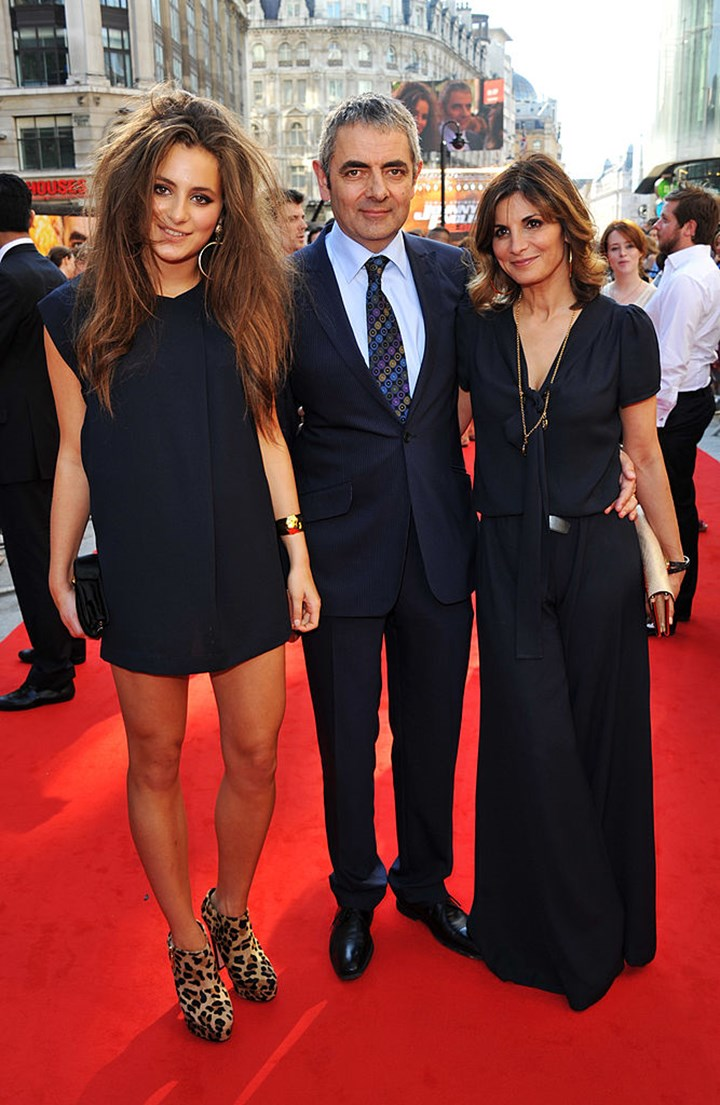 Lily Sastry with her parents, Rowan Atkinson and Sunetra Sastry