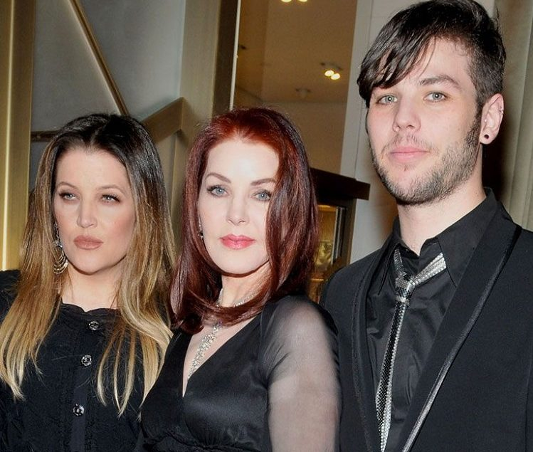 Priscilla Presley, Navarone Garibaldi, and Lisa Marie Presley at the Cartier VIP reception at MGM CityCenter's Crystals for Nevada Ballet Theatre's 27th Annual Black and White Ball