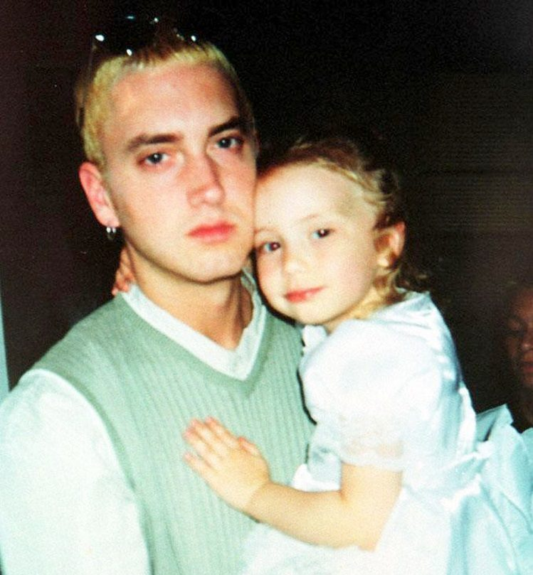 Childhood photo of Hailie Jade in arms of Eminem
