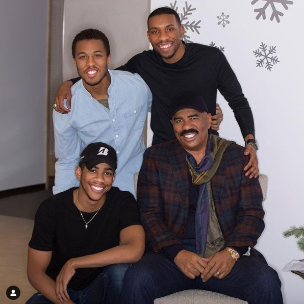 Broderick Harvey Jr with his brother and father Steve Harvey