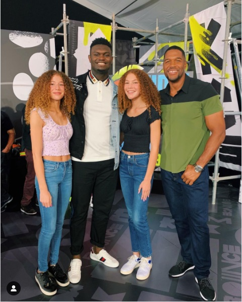 Sophia Strahan with Isabella Strahan brother Michael Strahan jr and father Michael Strahan