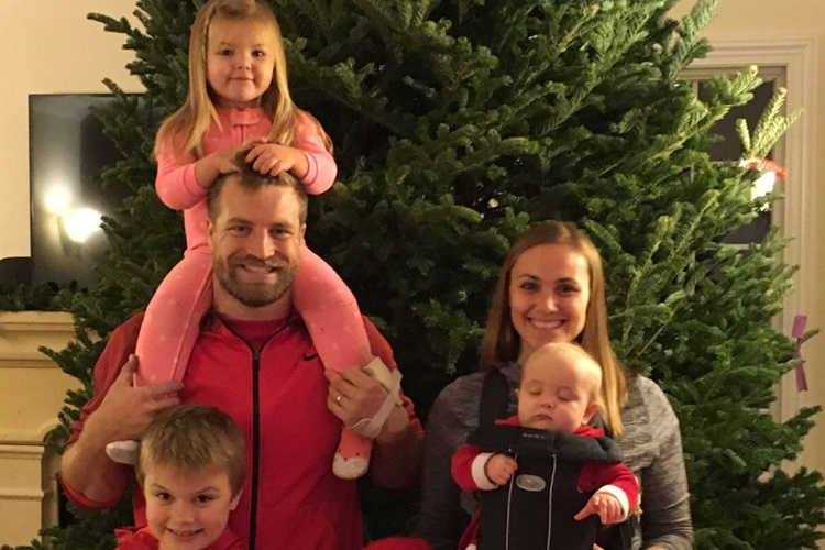 Liza Barber with husband Ryan Fitzpatrick and their kids.