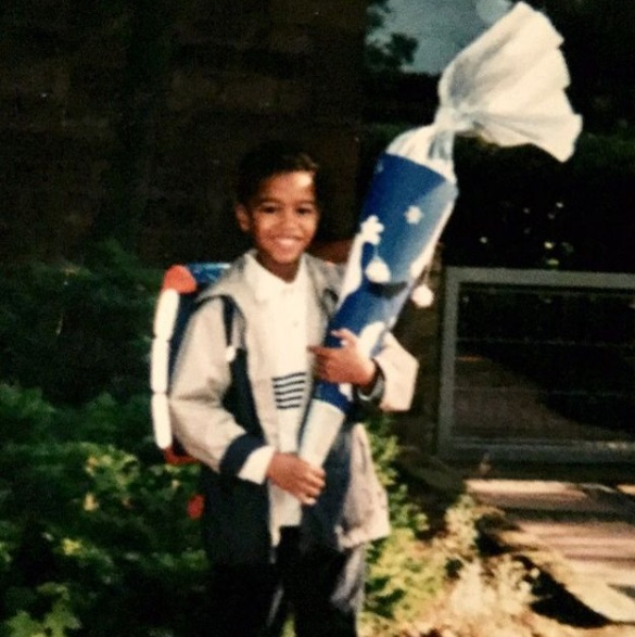 Michael Strahan Jr first day of school in 2001 photo