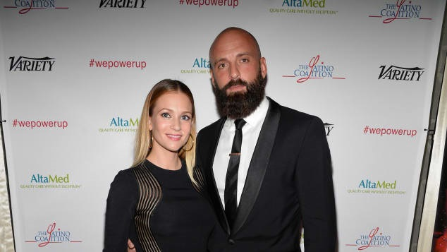 Nathan Andersen with his wife A.J Cook