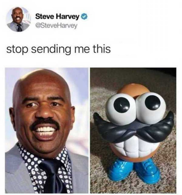 Meme of steve harvey that was sent to him on Twitter by his followers