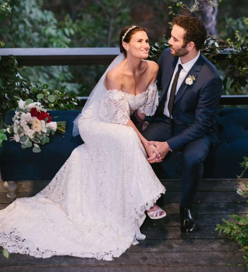 Walker mother Idina Menzel and stepfather Aaron Lohr wedding photo